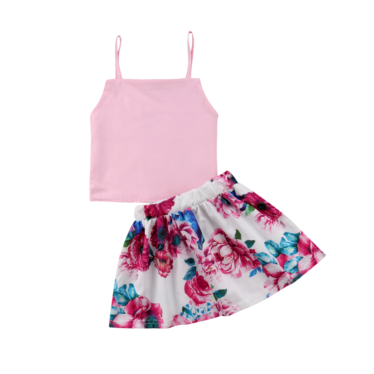 2PCS Toddler Fashion Girls Summer Clothing Set Straps Sleeveless T-Shirt+Floral A-line S ...