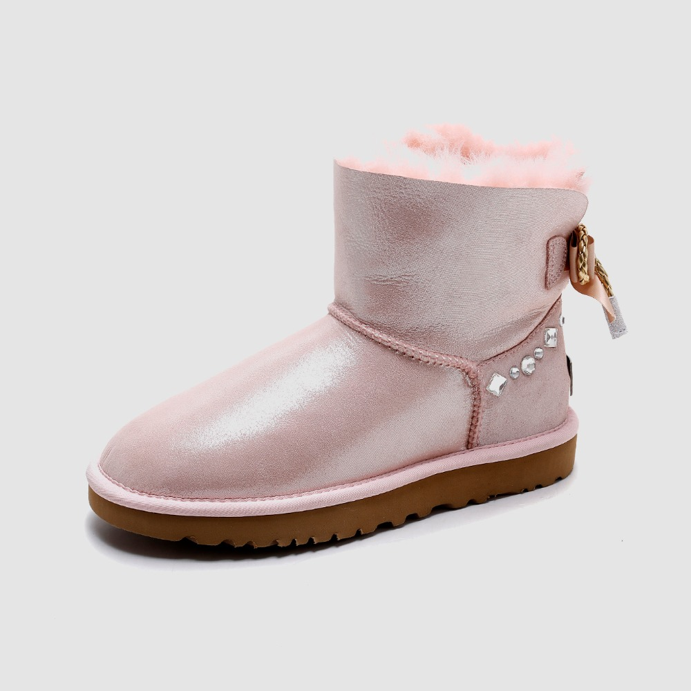 New arrivals fashion style big nature sheep fur girls tall snow boots for women botas sheepskin leather winter shoes high boots