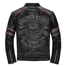 2019 Vintage Black Men's Genuine Leather Jacket Skull Embroidery Pattern Plus Size XXXL Real Cowhide Biker's Coat FREE SHIPPING(China)