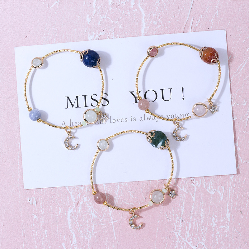 Rhinestone Bracelet For Woman Moon Pendant Crystal Beads Bracelets&Bangles Cute Jewelry Valentine's Day Christmas Gifts