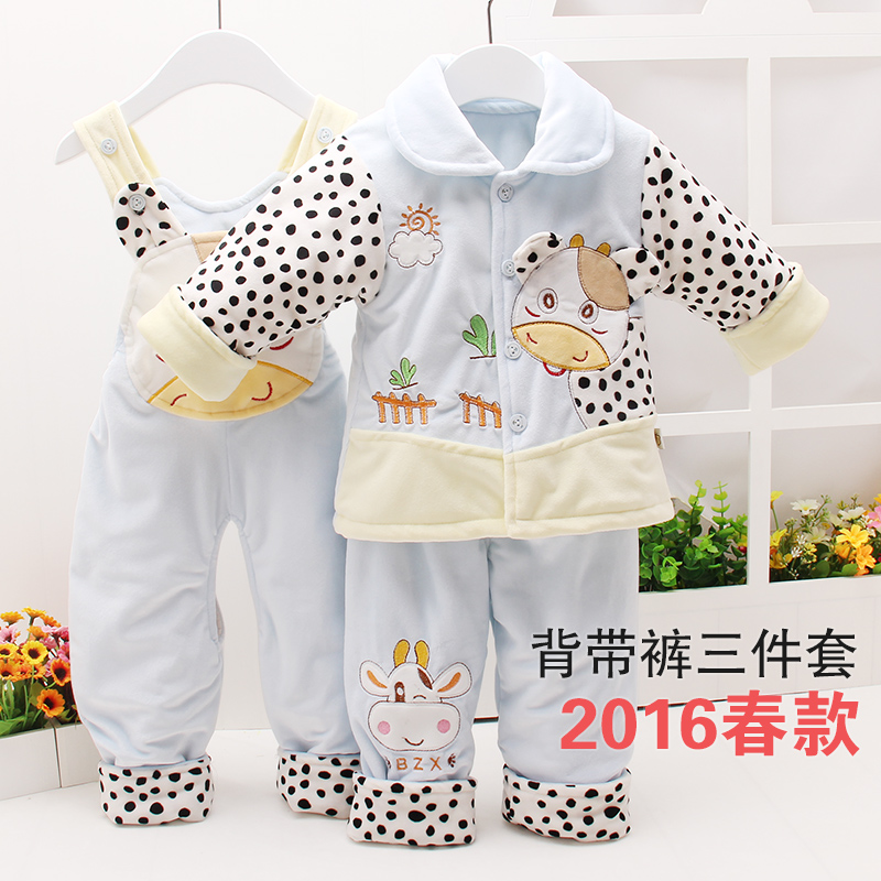 baby clothes spring and autumn wadded jacket set male cotton padded jacket vest piece set baby