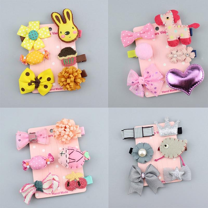 6Pcs/set Cute Girls Kids Hair Clip Hairpin Bow Hairclip Girls Headwear Hair Accessories 2cm-6cm