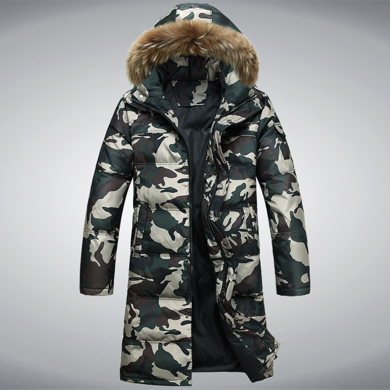 Hot Selling 2017 New Arrival Men Fashion Camouflage Jacket Parka Winter Thick Warm Ourwear Coat Tide Male Hooded Long Coat MZ639