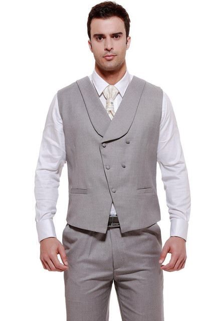 New Arrival Groom Vests Light Gray Groomsmens Vest Custom Made Size and Color Double-Breasted Wedding/Prom/Dinner Waistcoat