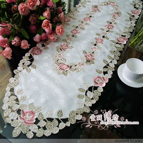 Деревенский ткань вышивка вышитые столовая скатерть кофе столбец вырез крышки полотенце Великолепная Роза