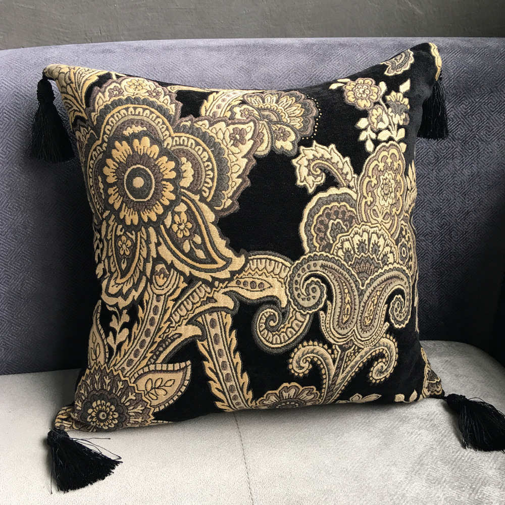 Big Black Decorative Pillows : 2017 Vintage Big Floral Black Chenille Cushion Cover Tassels Pillow Case Decorative Sofa ...