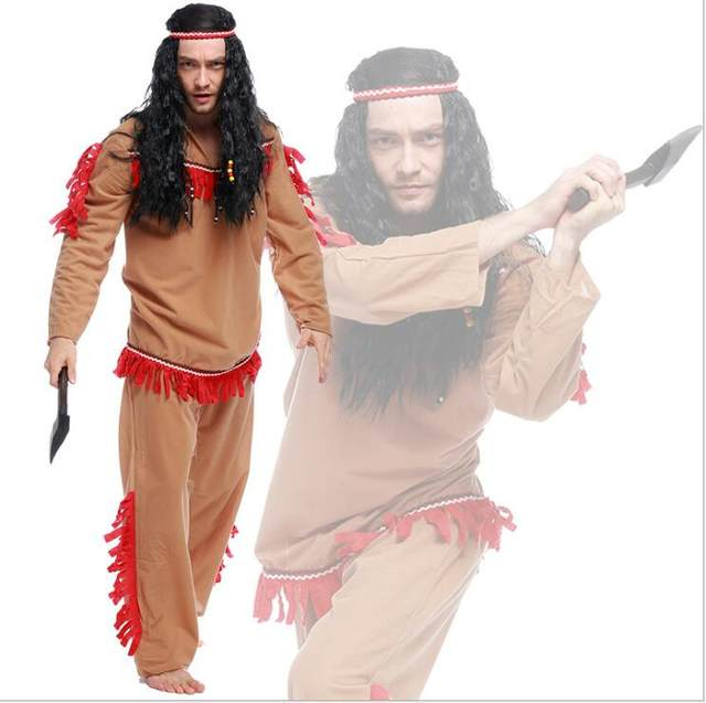 Halloween Party Cosplay Adult Native Red Indian Man Brave Warrior Chief Up Cowboy Costume Primitive Savage Men Chiefs Clothing  sc 1 st  Aliexpress & Online Shop Halloween Party Cosplay Adult Native Red Indian Man ...