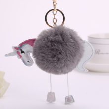 Funny Animal Fluffy Unicorn Cartoon Keychain Artificial Pompoms Rabbit Fur Ball Pom Pom Key Chain Women Bag Car Keyring Holder(China)