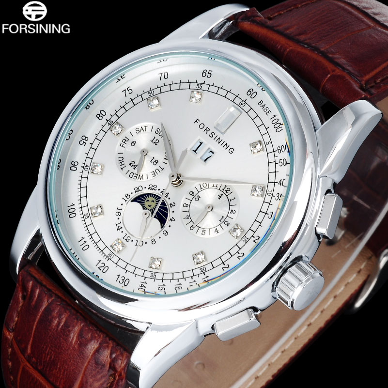 2017 FORSINING Simple Brand Men Fashion Watches Casual Auto Mechanical Genuine Leather Strap Watch Rhinestone Moon Phase Display forsining fashion brand men simple casual automatic mechanical watches mens leather band creative wristwatches relogio masculino