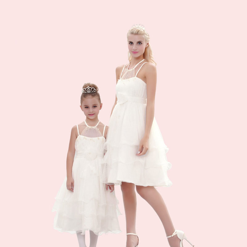 Family  Costumes Matching Outfits Mother Daughter Dresses Short Evening Cocktail Bridesmaid Dresses Mother of The Bride Dresses платье для матери невесты erose mother of the bride dresses 009 v mother of bride dresses adm 009