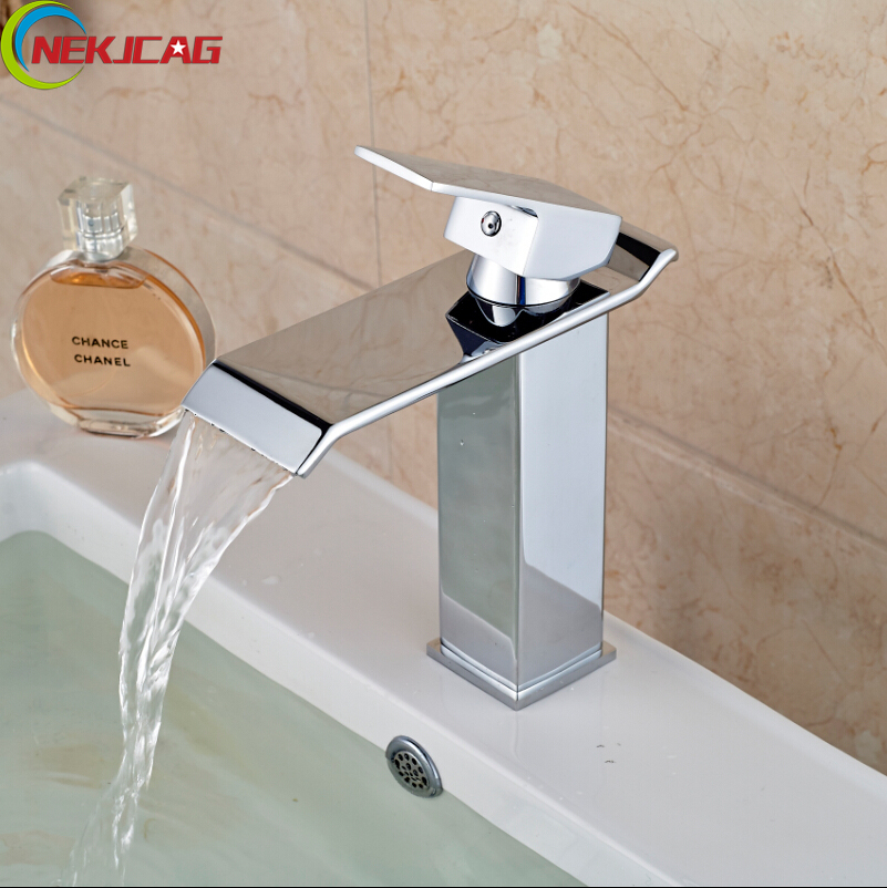 Wholesale And Retail Brass Faucet Waterfall Bathroom Basin Sink Faucet Deck Mount Sink Mixer Tap Free Shipping free shipping wholesale and retail chrome brass waterfall bathroom sink faucet single handle hole deck mounted sink faucet