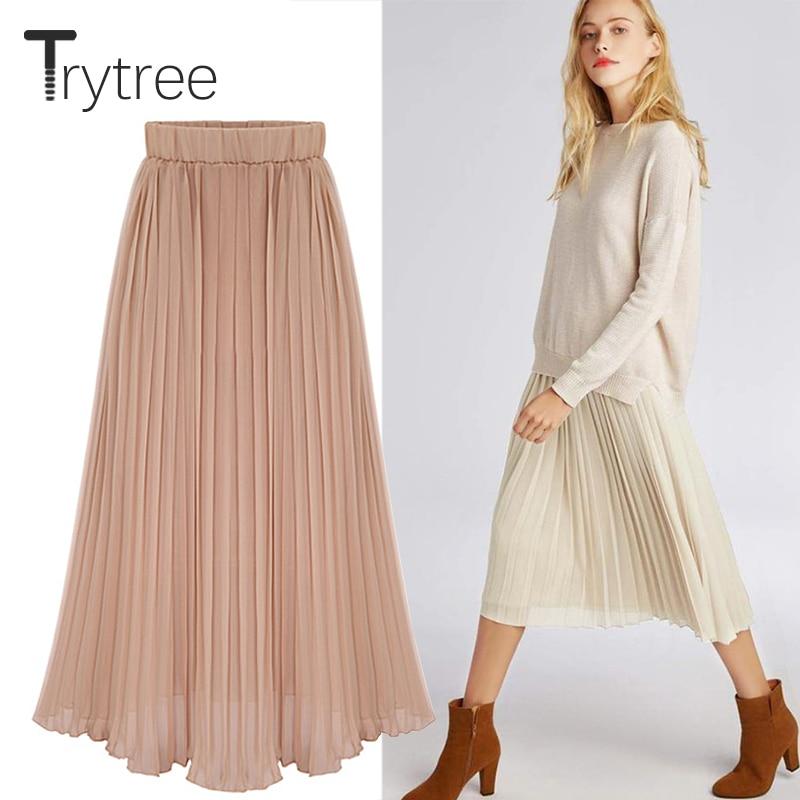 Trytree Summer Autumn Pleated Skirt Womens Polyester 4 Colours Solid Skirt Mid-Calf Skirts Elastic Waist A-Line Skirt Female