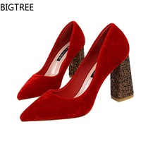 BIGTREE Pumps Women High Heels Shoes Fashion Pointed Toe Party Shoes Woman Wedding Office Pumps Red