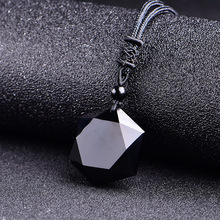 Drop shipping Black Obsidian pendant necklace obsidian six mans star pendant Lucky Love Crystal Jewelry With Free Rope free shipping natural ice obsidian god beast bracelet with rope wholesale