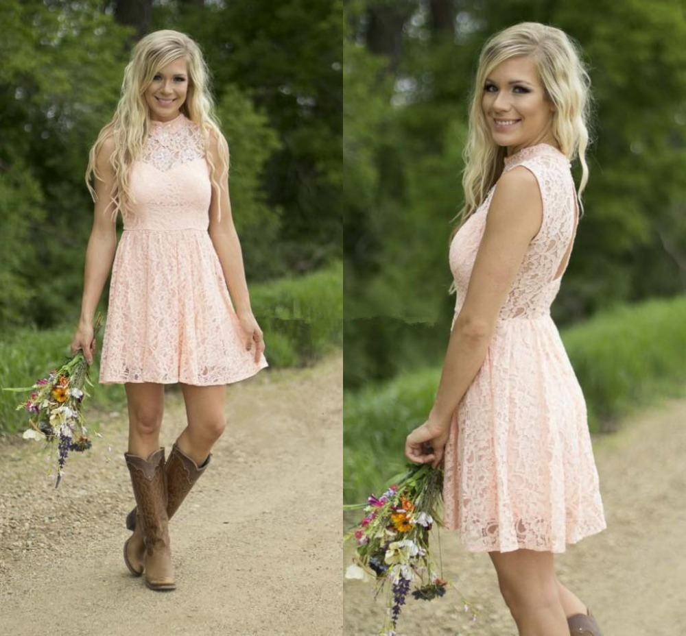 Modest Country Western Full Lace Peach Short Lace Bridesmaid Dresses ...