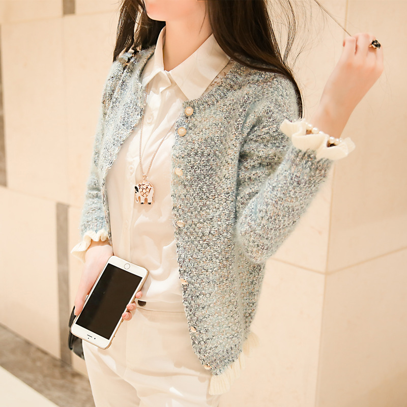 Discount Autumn new fragrant wind short coat sweater fungus mixed colors small shawl cardigan women Fashion Christmas Sweater