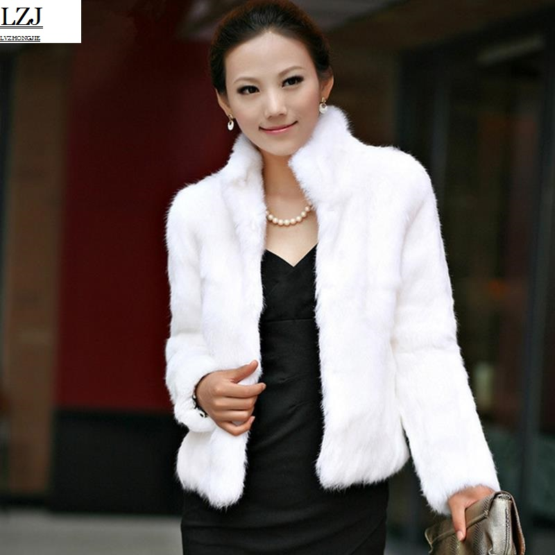LZJ 2017 new imitation fur grass Rex rabbit coat full fur rabbit fur jacket winter fur coat custom large size special wholesale