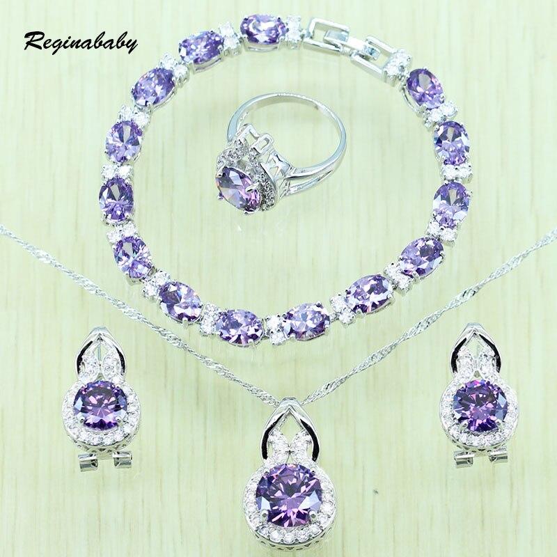 97f98569039a Reginababy mujeres púrpura cristal blanco rhinestone joyería nupcial  conjunto de plata de color ZIRCON collar Pendientes anillo colgante  pulsera