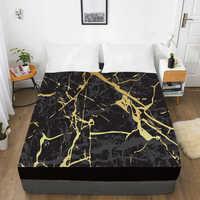 3D HD цифровая печать индивидуальная кровать лист с эластичным, встроенный двойной лист полный королева король, черный мраморный матрас крыш...