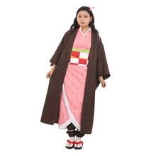 Brdwn Demon Slayer Kimetsu no Yaiba Womens Kamado Nezuko Cosplay Costume Kendo Kimono Suit full set demon slayer kimetsu no yaiba kamado nezuko cosplay costume kimono wig geta shoes headwear japan anime halloween dress