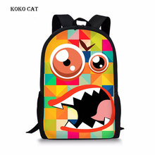 Funny Expression Printing Canvas School Bags Teenagers Girls Animal Cartoon  Bookbag  Primary Student Backpacks Mochila Infantil cool horse school bags for teenagers animal tiger backpacks for boys primary students mochila stylish bookbag for children girls