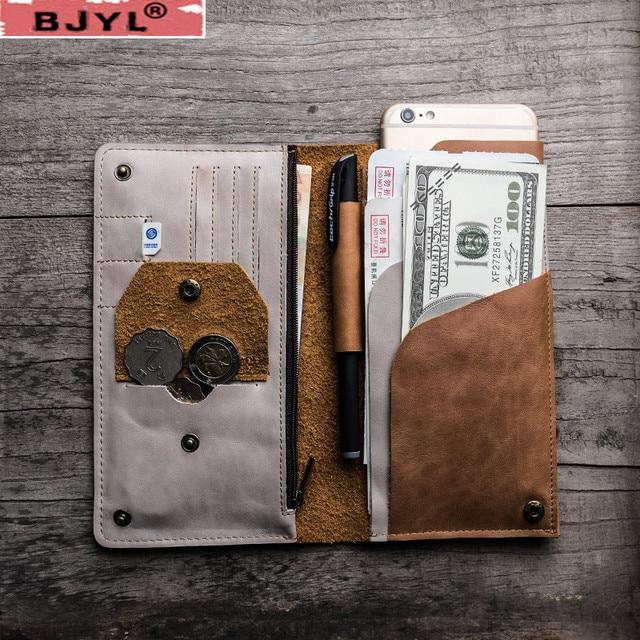 0425c8a64ecc88 ... Geldbörse farbe passport karte halter brieftasche. BJYL Original Retro  Men Long Wallets Soft Suede Leather Travel Simple Document Bag Coin Purse  Color