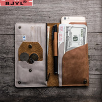 BJYL Original retro Men Long Wallets soft suede leather travel simple document bag Coin Purse color passport card holder wallet