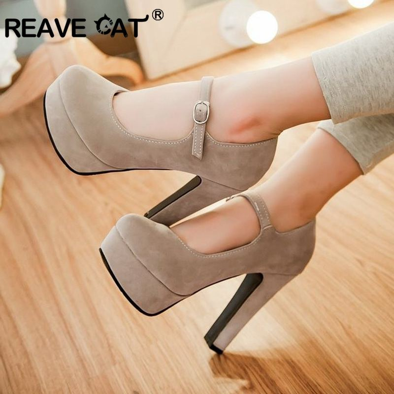 REAVE CAT 2019 Women Mary Jane High Heels Pumps Ladies Wedding Round Toe Platform Flock Block Heel Buckle Strap Big Size Party
