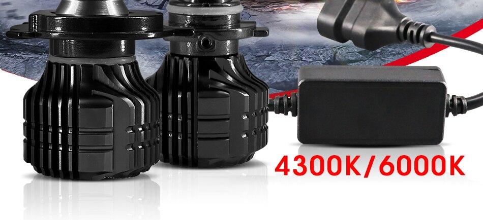 HLXG 2Pcs 9000LM H4 led 4300K Yellowish CSP Chips H11 H8 LED H7 H1 H3 52W 9000LMset 9005 HB3 9006 HB4 Bulbs Car Headlight 6000K (2)