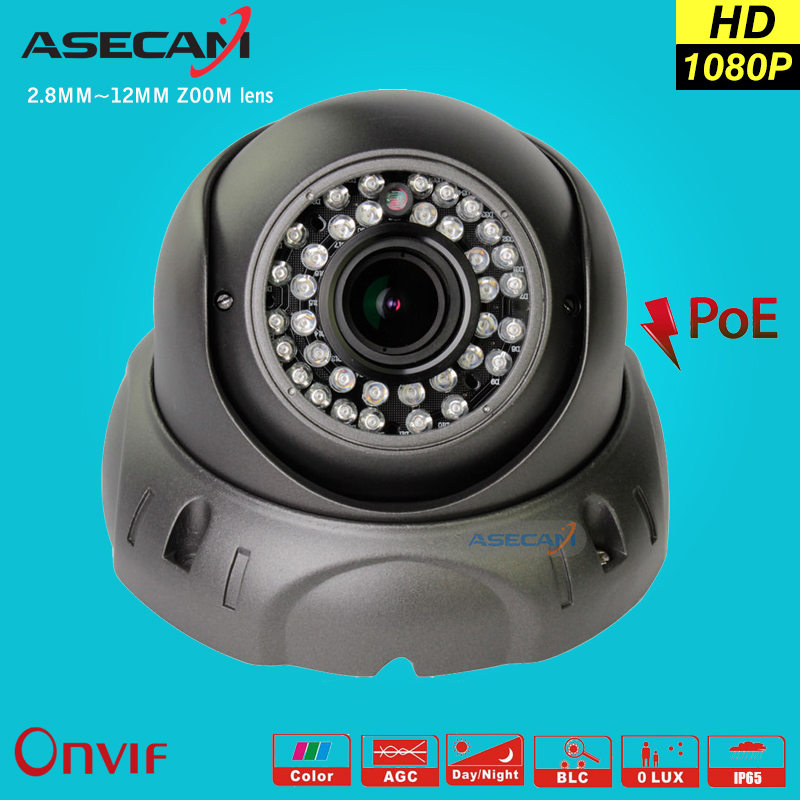 2MP Zoom Varifocal 2.8~12mm Lens Full HD IP Camera 1080P POE Onvif p2p Bullet Waterproof 42led Security Gray White shell ipcam 2014 sale 4ch onvif full hd 48v real poe 80 100m nvr kits with 720p varifocal 2 8 12mm lens ip cameras p2p cloud service