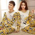 Amantes sleepwear primavera outono de manga comprida amantes roupas casais pijama combinando adulto minion pijamas conjuntos