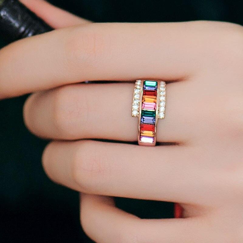 Bague de mariage en cristal pour femmes, bague coréenne, décoration de bijoux de mode pour femmes, se réfère à la version coréenne de la femme par