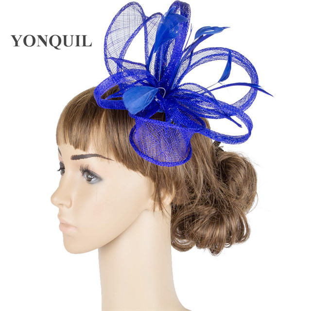 Royal blue hair fascinators headband wedding chapeau pillbox hat party  elegant women party tea feather hair accessoiries MYQ077 f803294ec3f