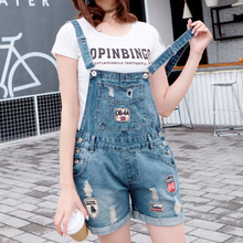 Just.be.never 2017 New Summer Loose Denim Overalls Ripped Jeans For Women Jogakuin Wind Ripped High Waist Jeans Taille Haute