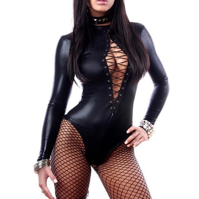 7c4aeaf003604 Wholesale Womens Sexy PVC Faux Leather Wet Look Bodysuit Lace Up Teddy  Black Lingeries Plus Size Sexy Lingerie Good Quality