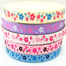 suoja 5 yard 1 (25mm) beautiful flower pattern print grosgrain ribbon tape DIY handmade hairbow ribbon suoja