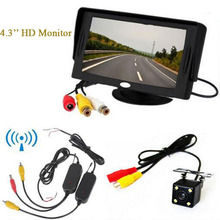 цена на 2.4G Wireless video transmitter and receiver 4 LED BackUp Reverse Car Rear View Camera 4.3