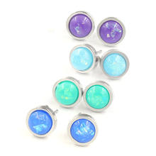 1 Pasang Fashion Stainless Steel & Opal Telinga Post Anting-Anting Anting-Anting Perak Bulat Foil 8 Mm Diameter, Post/Kawat Ukuran: (20 Gauge)(China)
