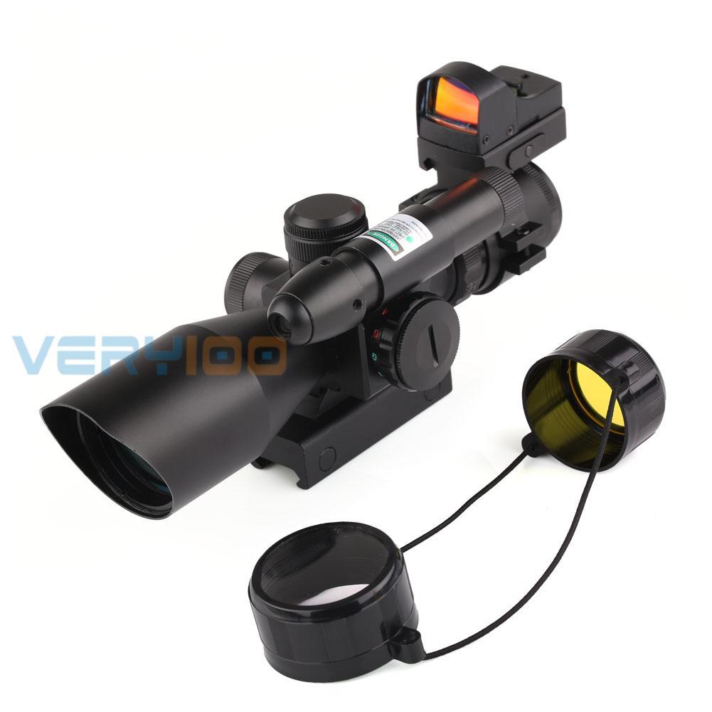 2.5-10X40 Tactical Rifle Scope w// Green Laser /& Mini Reflex 3 MOA Red Dot Sight