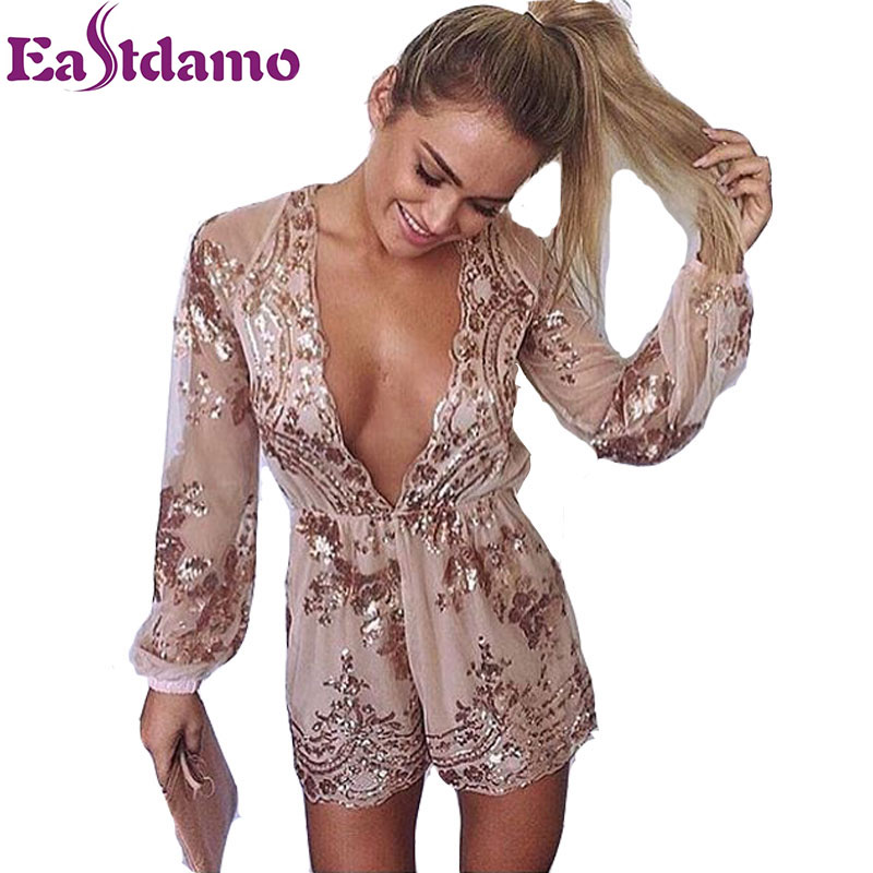 f37ee39d4b 2018 Summer Sexy Women Deep V Neck Long Sleeve Jumpsuits Embroidery Solid  Colors Mesh Sequin Lace Rompers