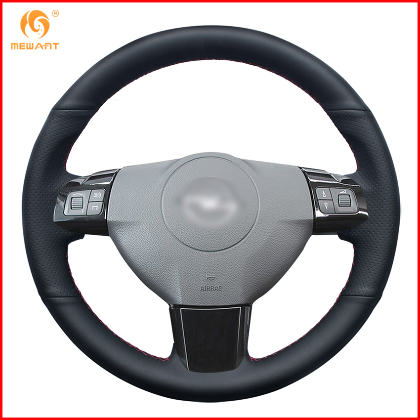 MEWANT Black Genuine Leather Car Steering Wheel Cover for Opel Astra 2004 2005 Opel Corsa 2009