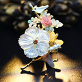 JUJIE Pink Pearl Flower Brooches For Women 2017 Fashion Bird Brooch Multicolor Female Gold Plated Pins Brooches Gifts For Girl