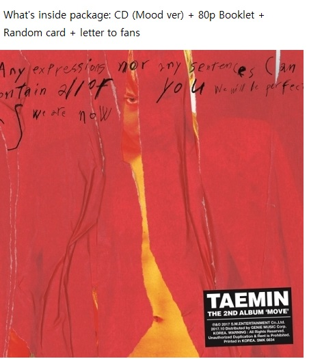 SHINEE TAEMIN 2nd Album - MOVE - Random Cover   Release Date 2017.10.17 shinee the 2nd concert album shinee world ii in seoul 44p lyric book release date 2014 4 2 kpop