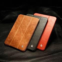 Funda de Jisoncase de cuero genuino para iPad mini 1 2 3 plegable Folio Auto Wake Sleep marca de lujo Smart Cover para iPad mini 2 3 7,9
