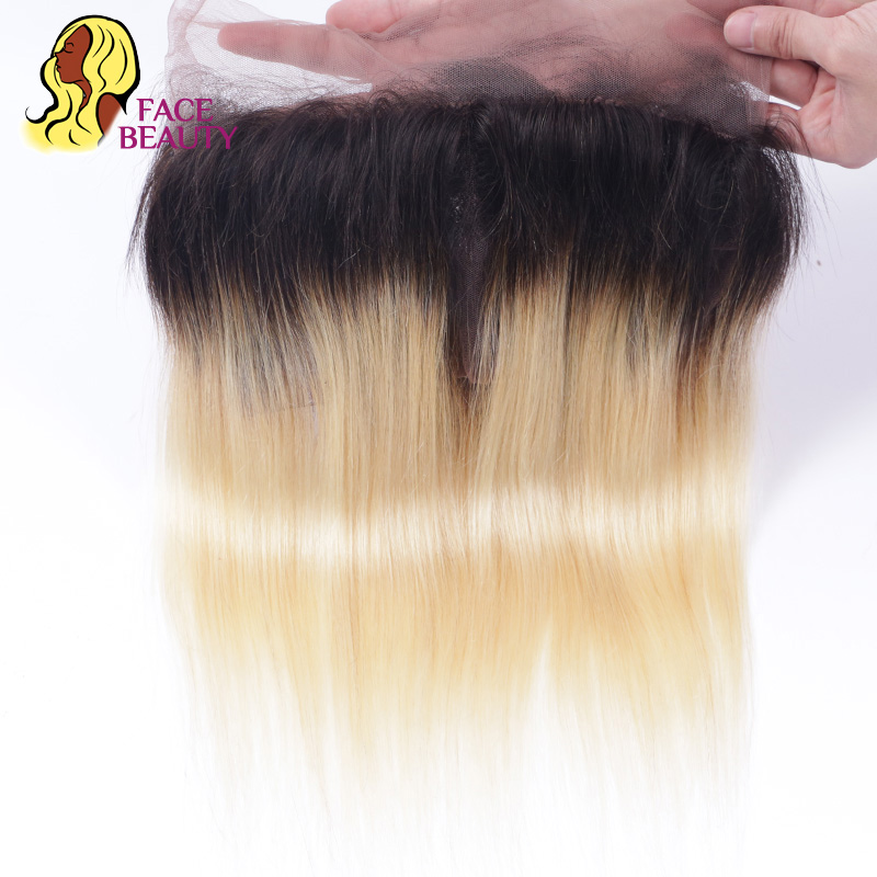 Face beauty Blonde 1B 613 Ombre Lace Frontal 360 Human Hair Closure Peruvian Straight Remy Bleached