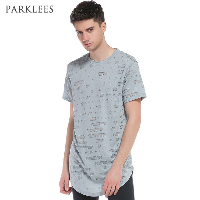 Longline T Shirt Men 2017 Summer New Destroyed Hole Tee Shirt Homme Casual  Slim Fit Hip Hop Streetwear Hi Stree Fashion Clothing aa04d45be8b