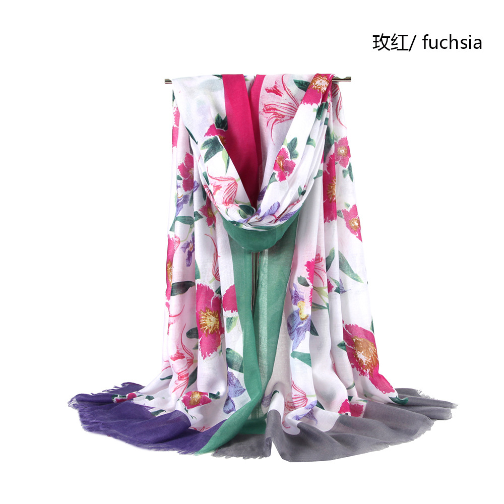 2019 Women Floral Pattern Quality Cotton Frayed Scarf 6Colors 10pcs/lot