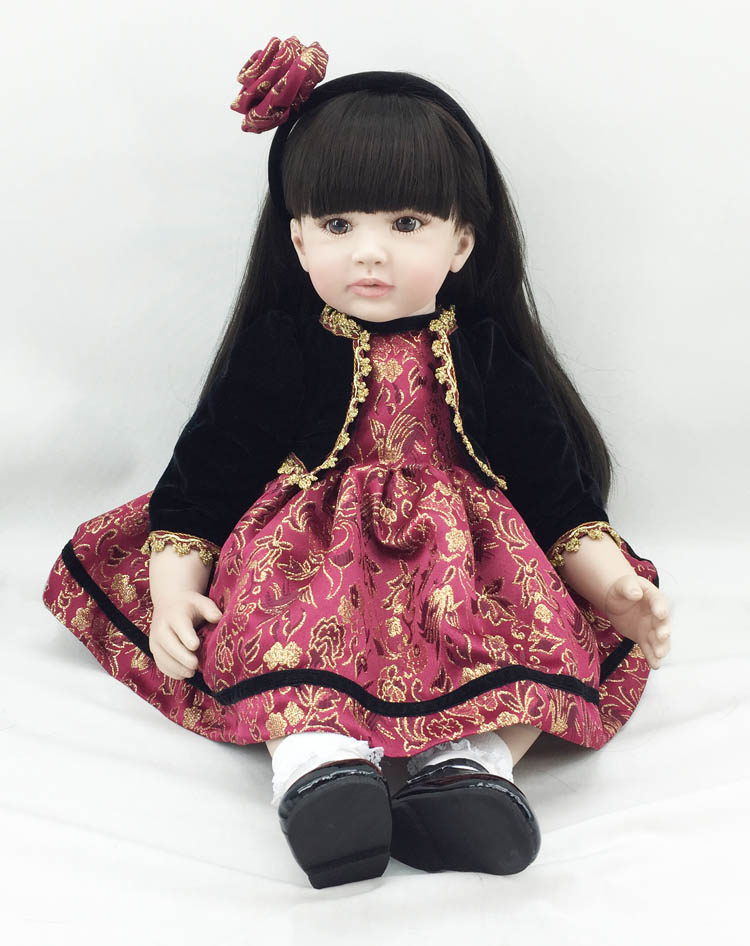 22inch 55cm Toddler Baby Girl Dolls Vinyl Silicone Reborn Baby Girl Gift Play Toy Doll In Chinese Style Dress Kids Birthday Gift