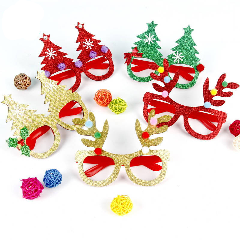 New Christmas Ornaments Glasses Frames Party Toy Santa Claus