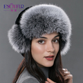 Women's fur bomer hat for winter natural rex rabbit silver fox fur outdoor caps for women ear protection russian fur hat